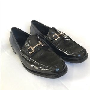 Gucci Black Patent Leather Square Toe Loafers